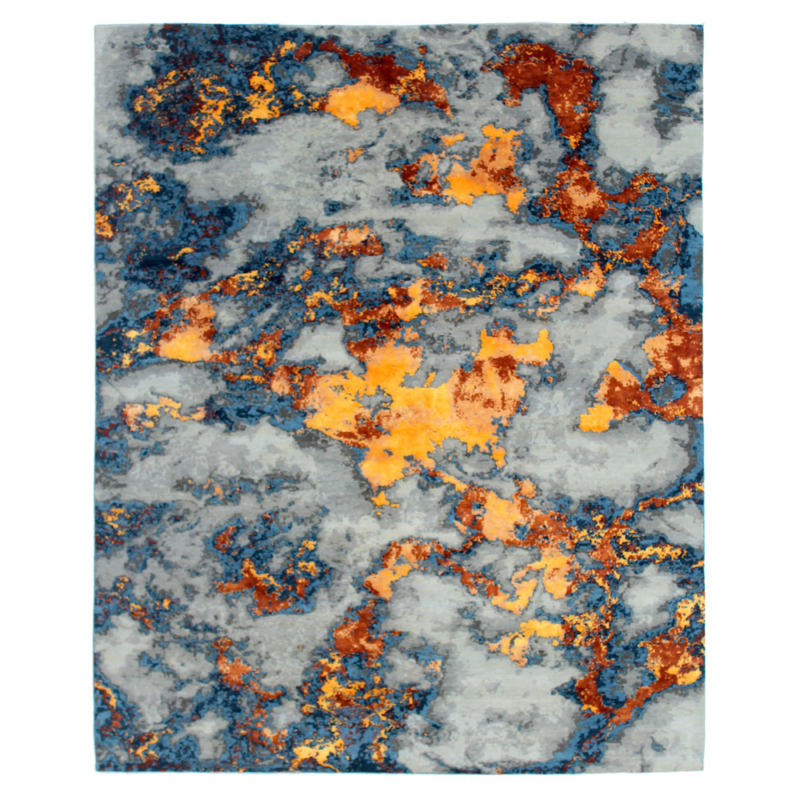 Celestial-Brush-stroke-rug-silk-woven-knots-colours-carpet